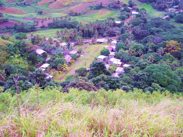 looking down at village