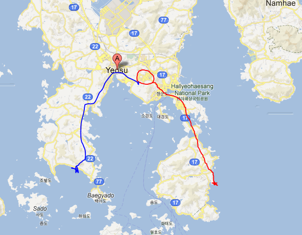 Saturday's journey in red to Bangjukpo beach...Jangdeung beach journey in blue (Sunday)