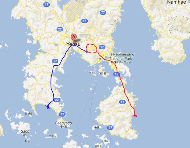 Saturday's journey in red to Bangjukpo beach...Jangdeung beach journey in blue (Sunday)