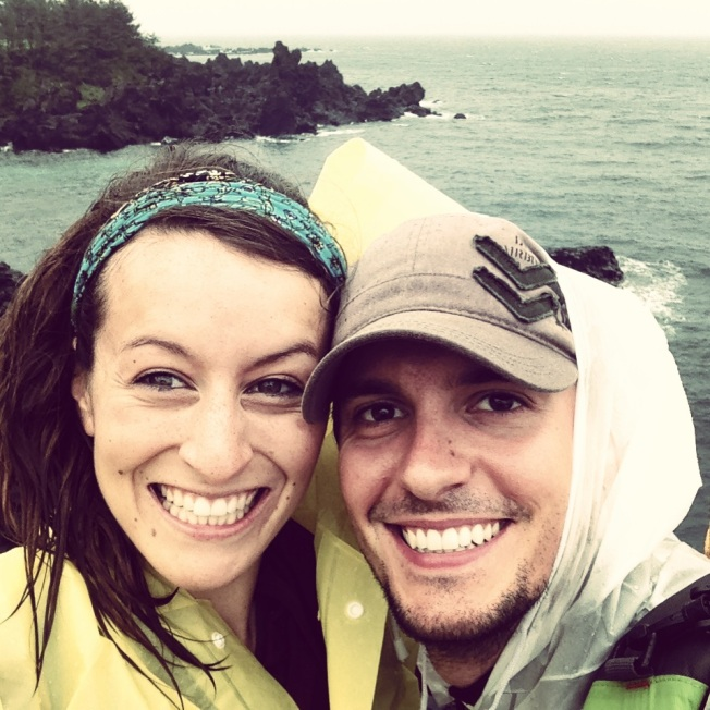 Enjoying the rain at the cliffs in Jeju!