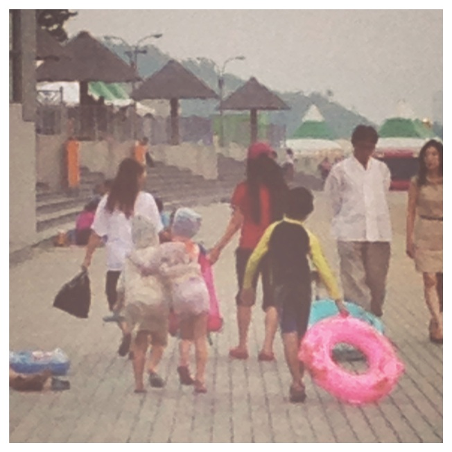 Hard to see because I had to zoom in so far...but check out the cute little girls walking arm in arm (on the left)