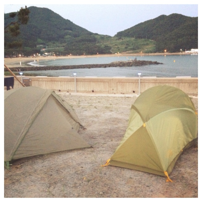 Camping (nearly) on the beach. Namhae, South Korea.