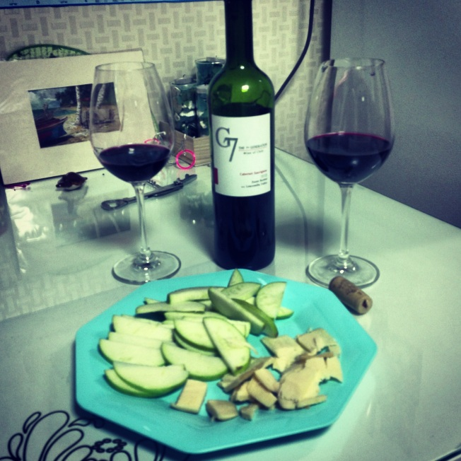 Wine/Apples/ Wisconsin cheese a special treat for us on a school night. ;)